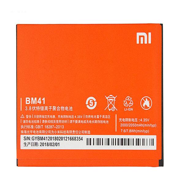باتری موبایل مدل bm41 ظرفیت 2050 میلی آمپر ساعت مناسب برای گوشی موبایل شیائومی redmi 1s